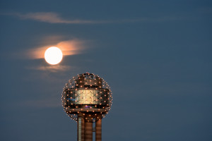 Reunion Tower and Buck Moon Above