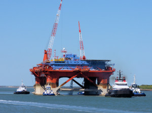 Jasminia Off Shore Accommodation Rig Being Towed To A Location In The Gulf of Mexico.